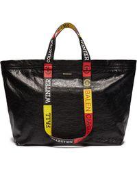 Balenciaga - Logo Handle Medium Crinkled Leather Shopper Tote - Lyst