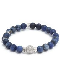 Tateossian - 'stonehenge' Sodalite Silver Bead Bracelet - Lyst