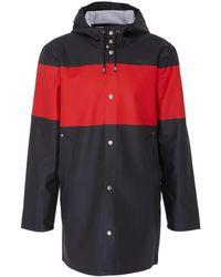 Stutterheim - 'stockholm' Hooded Colourblock Stripe Unisex Raincoat - Lyst