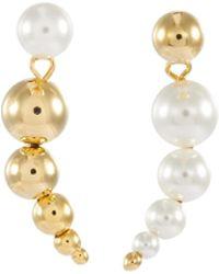 Joomi Lim Faux Pearl Sphere Mismatched Drop Earrings