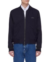 Wooyoungmi - Logo Embroidered Stripe Sleeve Bomber Jacket - Lyst