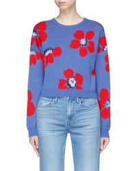 Alice + Olivia - 'leena' Floral Intarsia Cropped Sweater - Lyst