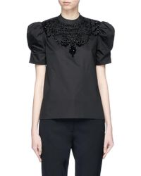 Co. - Puff Sleeve Embellished Sateen Top - Lyst