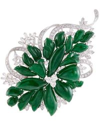 LC COLLECTION - Diamond Jade 18k White Gold Floral Brooch - Lyst