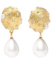 Kenneth Jay Lane - Glass Pearl Drop Seashell Shaped Clip Earrings - Lyst