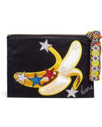 Venna - Banana Appliqué Star Patch Suede Clutch - Lyst