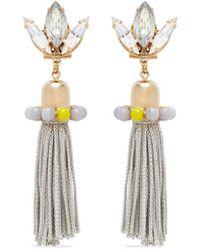 Anton Heunis - 'amy 3.05' Swarovski Crystal Agate Tassel Earrings - Lyst