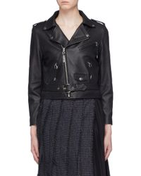Toga - Cropped Leather Biker Jacket - Lyst