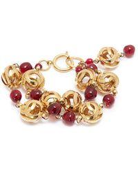 Chanel | Logo Charm Bead Link Chain Bracelet | Lyst