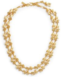 Kenneth Jay Lane - Glass Pearl Floral Tiered Necklace - Lyst