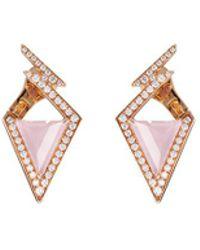 Stephen Webster - 'lady Stardust' Diamond Opal 18k Rose Gold Geometric Earrings - Lyst