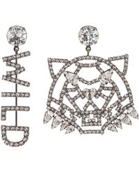 Joomi Lim - 'wild Tiger' Mismatched Swarovski Crystal Slogan Earrings - Lyst