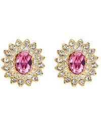 Kenneth Jay Lane - Glass Crystal Stud Clip Earrings - Lyst
