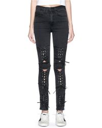 Madegold - 'bianca' Lace-up Cutout Panel Denim Pants - Lyst
