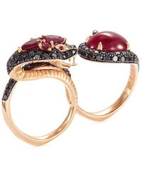 Stephen Webster - Diamond Ruby 18k Rose Gold Two Finger Snake Ring - Lyst