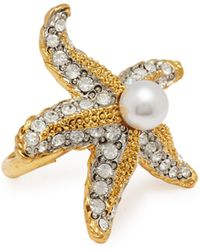Kenneth Jay Lane - Glass Crystal Glass Pearl Starfish Ring - Lyst