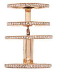 Repossi | 'antifer' Diamond Pavé 18k Rose Gold Four Row Linked Ring | Lyst