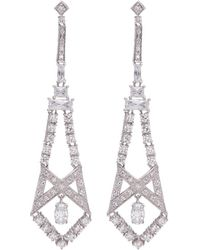 CZ by Kenneth Jay Lane - Cubic Zirconia Cutout Geometric Drop Earrings - Lyst