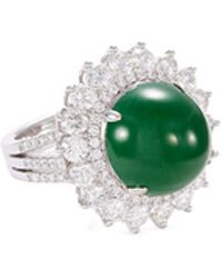 LC COLLECTION - Diamond Jade 18k Gold Ring - Lyst