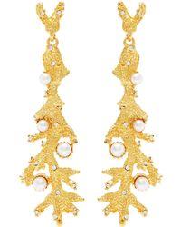 Kenneth Jay Lane - Glass Crystal Pearl Branch Drop Earrings - Lyst