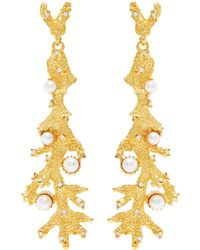 Kenneth Jay Lane - Glass Crystal Pearl Branch Drop Earrings - Lyst