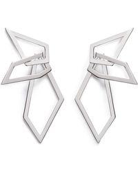 W. Britt - 'interlocking Angle' Silver Angular Hoop Earrings - Lyst