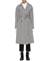 TOME - Belted Pleated Back Houndstooth Check Plaid Trench Coat - Lyst