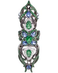 Wendy Yue - Diamond Sapphire Tsavorite 18k White Gold Full Finger Ring - Lyst