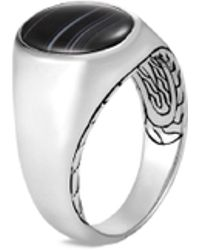 John Hardy - 'asli Classic Chain' Banded Agate Silver Signet Ring - Lyst