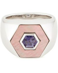 Tasaki - Iolite Mother-of-pearl Silver Signet Ring - Lyst