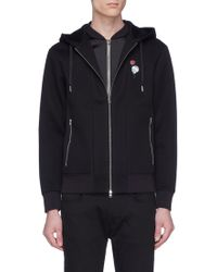 Alexander McQueen - Skull Rose Embroidered Neoprene Double Zip Hoodie - Lyst
