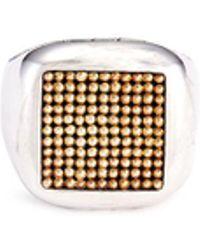 John Hardy - 18k Yellow Gold Silver Dotted Jawan Signet Ring - Lyst