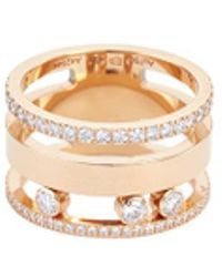Messika - 'move Romane' Diamond 18k Rose Gold Two Three Ring - Lyst