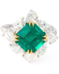 LC COLLECTION - Diamond Emerald 18k Yellow Gold Platinum Ring - Lyst