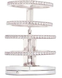 Repossi - 'antifer' Diamond Pavé 18k White Gold Six Row Linked Ring - Lyst