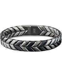 David Yurman 'chevron' Silver Titanium Woven Effect Bracelet