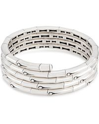 John Hardy - Silver Bamboo Four Row Coil Bracelet - Lyst