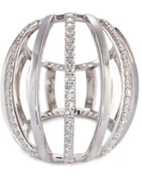Dauphin - Diamond 18k White Gold Cage Ring - Lyst