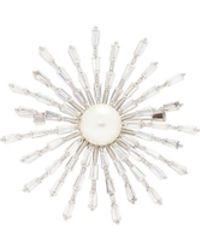 CZ by Kenneth Jay Lane - Shell Pearl Cubic Zirconia Starburst Brooch - Lyst