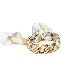 W. Britt - Curb Chain Bird Print Silk Scarf Tie Bracelet - Lyst