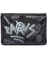 Balenciaga - 'explorer' Graffiti Print Leather Pouch - Lyst