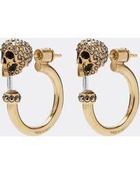 Alexander McQueen - Swarovski Crystal Skull Hoop Earrings - Lyst