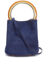 Marni - 'pannier' Small Ring Handle Suede Crossbody Bag - Lyst
