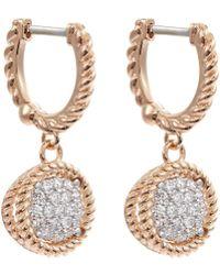 Roberto Coin - 'new Barocco' Diamond 18k Rose Gold Circle Drop Earrings - Lyst