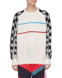 Facetasm - Star Checkerboard Sleeve Stripe Jumper - Lyst
