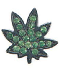 Loquet London - 18k Black Gold Tsavorite Hemp Leaf Charm - Lyst