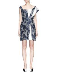 Stella McCartney - Colourblock Pleated Floral Print Dress - Lyst