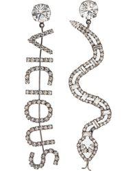 Joomi Lim - 'vicious Cobra' Mismatched Swarovski Crystal Slogan Earrings - Lyst