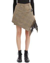 Sacai - Buckled Fringe Wrap Panel Houndstooth Check Plaid Shorts - Lyst