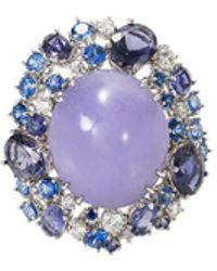 Roberto Coin - Diamond Jade 18k White Gold Ring - Lyst
